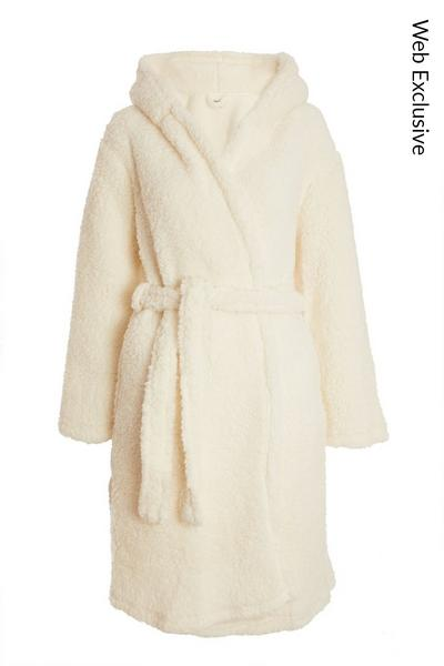 Cream Hooded Teddy Robe